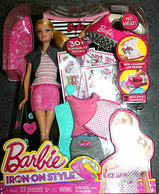 NEW IN PACKET - BARBIE DOLL SET - Barbie Iron On Style set  NEW
