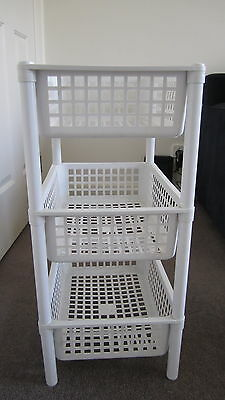 3 Tier White Plastic Storage Baskets/shelves