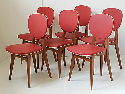 Suite 6 Chairs 50's Out Of Oakwood & Synthetic 1950 Vintage Rockabilly Zazou 50S