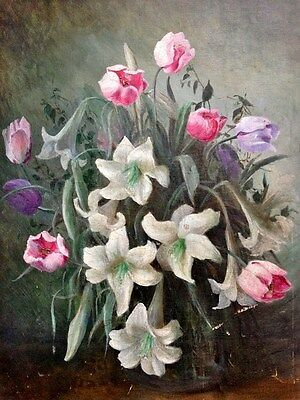 Charming Antique/vintage Still Life Floral Flowers In Vase Signed?? Oil Painting