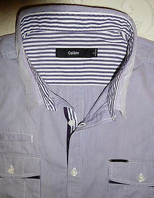 CALIBRE Men's Tailored Fit Grey Striped L/S Shirt Size M-L - Near New