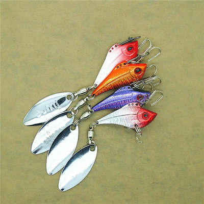 4x SF Metal VIB Fishing Lure Crank Swim Bass Bait Vibration with Blade Spoon 8g