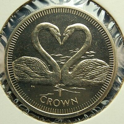 Isle of Man 2007 Swans 1 Crown Sized Coin 37 mm