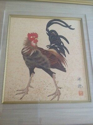 SIGNED VINTAGE CHINESE WATERCOLOUR OF A ROOSTER w/ GOLD FOIL HIGHLIGHTS 26x23cm