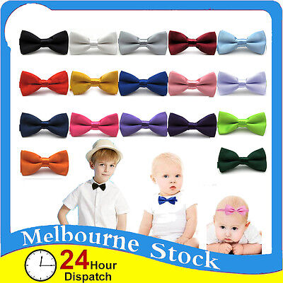 Kids Bow Tie Bowtie Black Baby Wedding Tuxedo Formal Party Pretied Necktie Boy