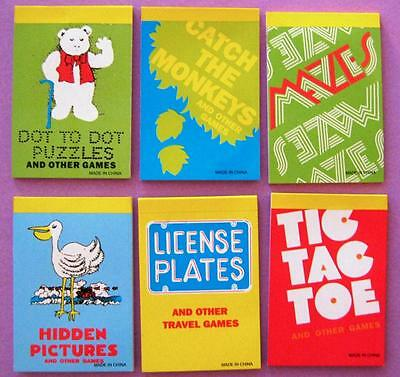 Bulk Lot x 12 Mini Travel Game Notepads New Kids Holiday Activity Party Favors