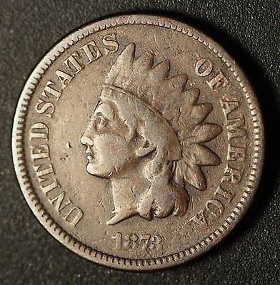 1873 INDIAN HEAD CENT - With LIBERTY - FINE *RARE CLOSED 3*