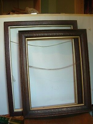 Two Old Antique Oak Picture Frames With Gilt Slip