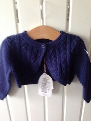 Baby Girl's Clothes 3-6 Months - Navy Blue Knitted Bolero Cardigan BNWT