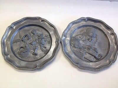Vintage Estate Norleans Metal Art Plates Italy Lot Of Two