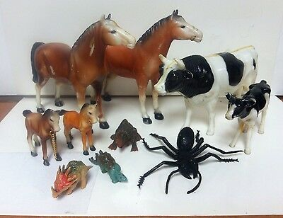 Vintage Plastic Early 1970's Collector Nylint Farm Model Horse Colt Cow Calf Lot