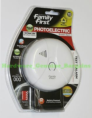 Family First Photoelectric Smoke Fire Alarm 10-Year Lithium Battery  -  Genuine.