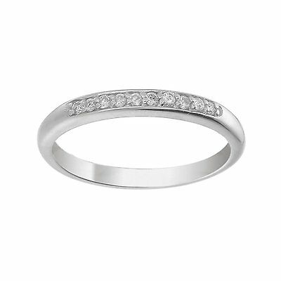 1/10 ctw Petite Diamond Wedding Band in 14K White Gold In Size 7