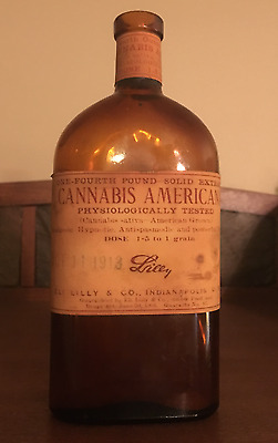 Antique ELI LILLY Cannabis Americana Marijuana Narcotic Apothecary Bottle - 1913