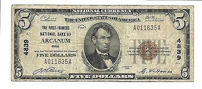 $5 First Farmers National Bank of Arcanum Ohio #4839