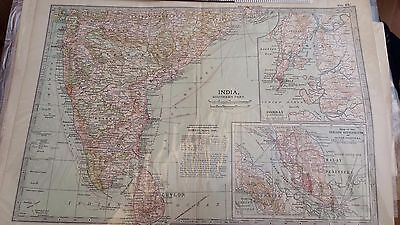 Edwardian antique map South India, insets of Bombay and Malaysia 1903