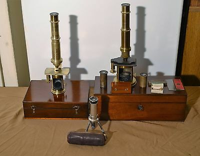 Antique Brass Microscope  Collection Lot Of 3 Antique Microscopes