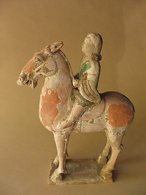 old Estate Chinese pottery HORSE Rider Tangburial tomb ceramic clay horse H 14""