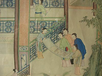 old Estate Chinese ink PAINTING framed lady robes Artist signed art Scroll 18thC
