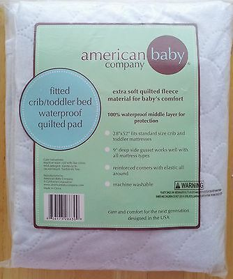 American Baby Company Waterproof Fitted Quilted Crib Protective Pad, White
