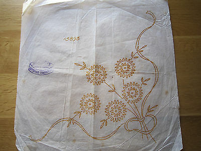 Genuine Small Vintage Embroidery Transfer  - floral spray CORNER design
