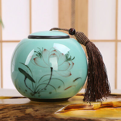 Longquan celadon ceramics painted lotus leaf tea caddy Sealed jar Storage Box