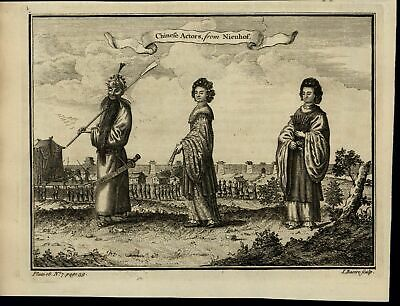 Chinese Actors Costume Mask Women Fans scarce old 1752 antique engraved print