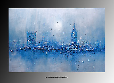 Art Abstract Painting large square canvas Contemporary Original Acrylic City