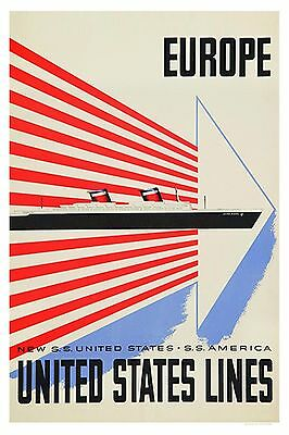 United States Lines Europe    8 x 12 poster