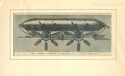 """Antique Hand Coloured Woodblock Etching c.1878. """"The Aerion"""" 32 x 20cm Steampunk"""