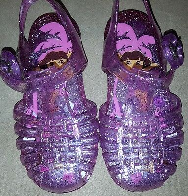 Toddler Girls Dora The Explorer Purple Jelly Sandal Shoes Size 7