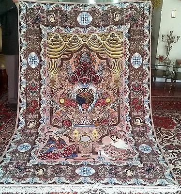 "Isfahan silk & wool silk foundation Persian Pictorial rug 5'2""x8'2"" Rahimy"