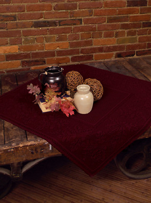 "Heritage Lace DARK PAPRIKA 36""x36"" OAK LEAF Table Topper - Leaves & Acorns"