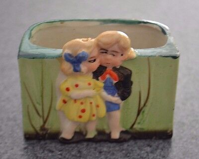 Vintage 1940s Ceramic Bisque Mini Planter, Girl Kissing Boy, Japan, Figural