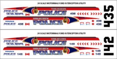 24 Scale York Regional Police Decals -  For Motormax Ford Utility - New Release!