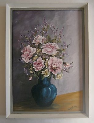 "An Original Still Life Oil  Painting Of  ""a Blue Vase Of Flowers"" -  Signed"