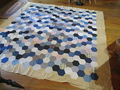 Antique Quilt Top-Hand Stiched-Early Fabrics
