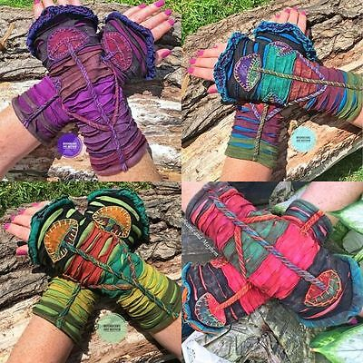 Quirky New Hippie Pixie Sleeves Gloves Wrist Warmers Boho Festival Top Purple
