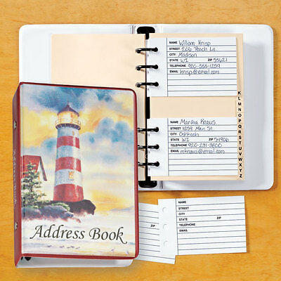 "NEW ~ Lighthouse Address Book Binder Spiral Loose Leaf 7 1/4""x 5"""