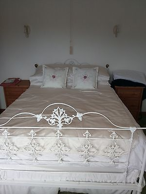 Antique Victorian White Cast Iron and Brass Double Bed