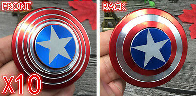 Wholesale LOT10X Metal Captain America Fidget Hand Spinner Shield Toy EDC Focus