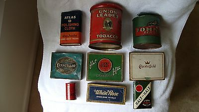 9 Old Antique/ Vintage Tins