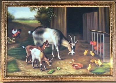 Stunning Large Oil Painting On Canvas Goats