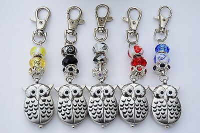 Pretty Owl Fob Watch on Beaded Key / Bag Chain