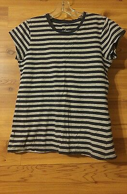 Pre-Owned ~ Womens Gap Blue/Gray Striped Short Sleeve Top Size M