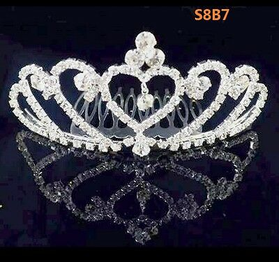 Rhinestone Crystal Tiara Hair Band Kid Girl Bridal Princess Crown Headband S8B7