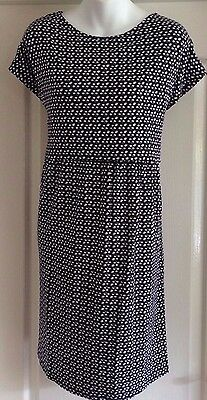 New~Jojo Maman Bebe~Maternity Breast Feeding Nursing Dress Navy Blue White Spots