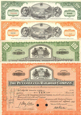 Railroad Gift Set > 4 Pennsylvania Railroad Company stock certificates