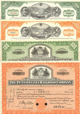 Railroad Gift Set   4 Pennsylvania Railroad Company stock certificates