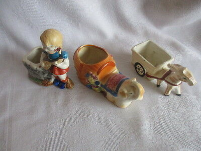 Lot of Three Occupied Japan Porcelain Planters - Girl, Elephant and Donkey